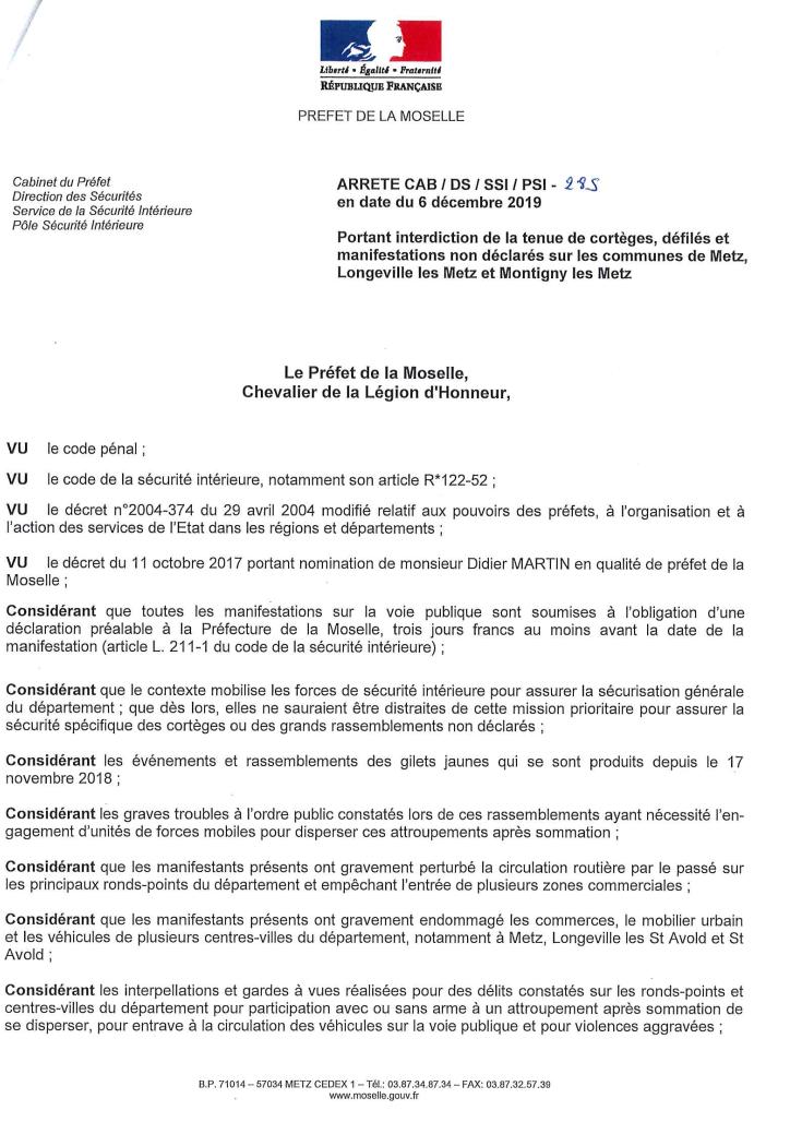 Interdictions De Manifestations Non Déclarées En Moselle Du