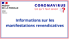 Covid 19 - Informations sur les manifestations revendicatives